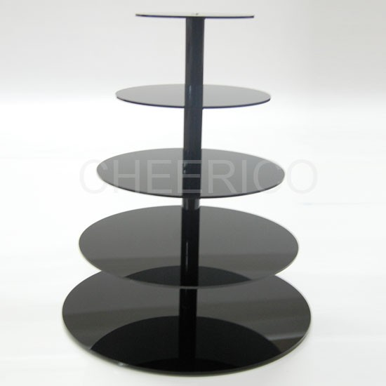 5 Tier Maypole Black Acrylic Cupcake Stand Tower Display