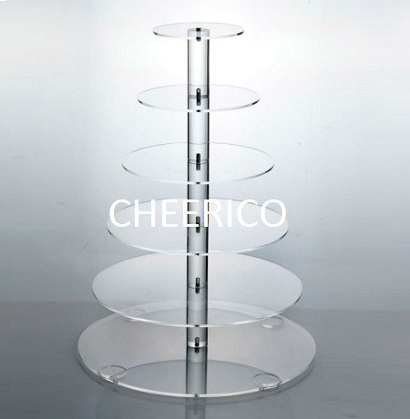 6 Tier Maypole Round Acrylic Cupcake Stand Display