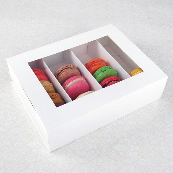 24 Macaron White Window Boxes ($2.80/pc x 25 units)