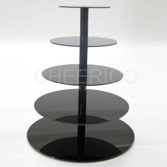 5 Tier Maypole Black Acrylic Cupcake Stand Tower Display