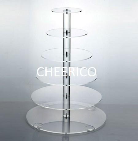 6 Tier Maypole Round Acrylic Cupcake Stand Display