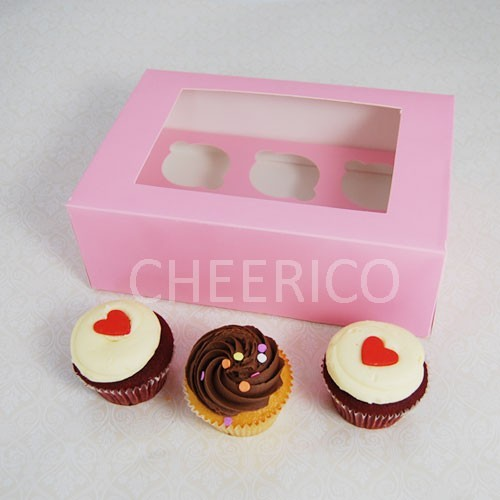 25 sets of Window  Pink Cupcake Box with 6 Cupcake Holder($1.40 each set)