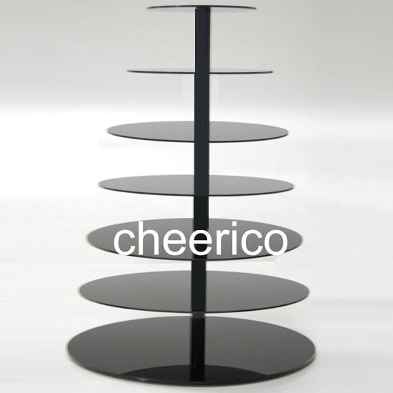 7 Tier Black Maypole Acrylic Round Cupcake Stand Display