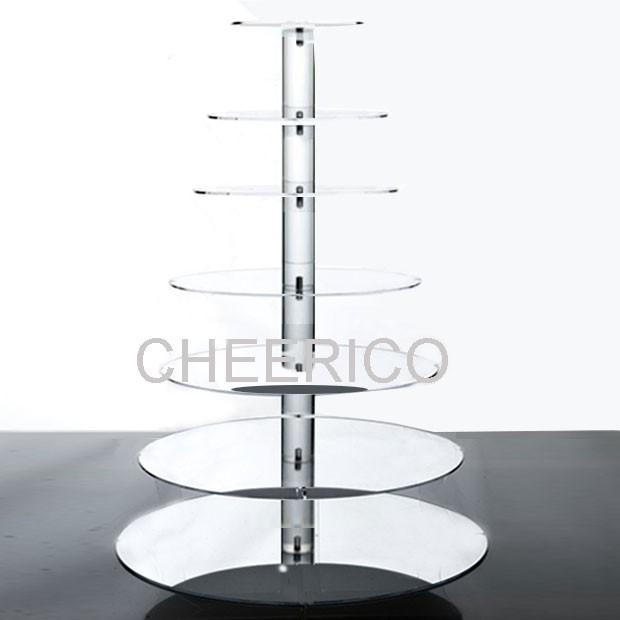 6 Tier Mirrored Effect Maypole Acrylic Round Cupcake Stand