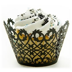 Black Filigree Cupcake Wrappers - 12units/pack