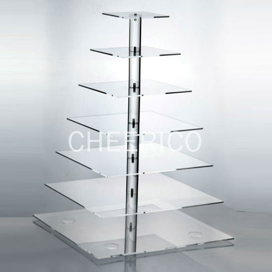 7 Tier Acrylic Square Pole Cupcake Stand Display